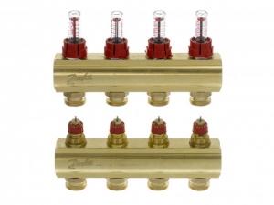 Коллектор распределительный Danfoss тип FHF- 4F на  4 отвода с ротаметрами