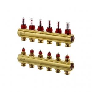 Коллектор распределительный Danfoss тип FHF- 6F на  6 отводов с ротаметрами