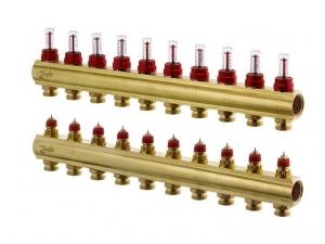 Коллектор распределительный Danfoss тип FHF-10F на 10 отводов с ротаметрами