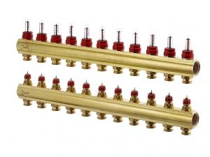 Коллектор распределительный Danfoss тип FHF-11F на 11 отводов с ротаметрами
