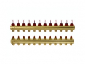 Коллектор распределительный Danfoss тип FHF-12F на 12 отводов с ротаметрами