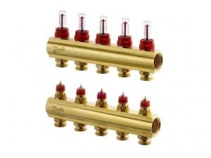 Коллектор распределительный Danfoss тип FHF- 5F на 5 отвода с ротаметрами
