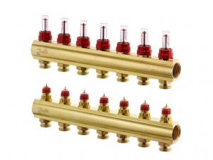 Коллектор распределительный Danfoss тип FHF- 7F на 7 отвода с ротаметрами