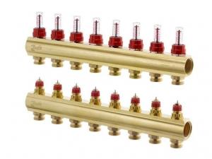 Коллектор распределительный Danfoss тип FHF- 8F на  8 отводов с ротаметрами