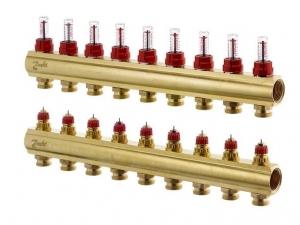 Коллектор распределительный Danfoss тип FHF- 9F на  9 отводов с ротаметрами